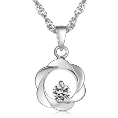 Queen Do Not Fade Hypoallergenic Gold-plated Ladies Diamond Necklace (White)