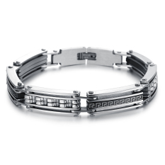 Queen Korean Fashion Titanium Steel Bracelet Engraved Wild Hip-hop Jewelry Wholesale Gift (Silver)