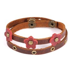 Queen Ladies Hand-Woven Leather Ancient Complex National Style Double Wound Lovely Flowers Bracelet (Brown)