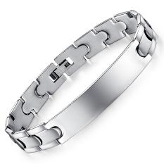 Queen Spanish Bible Lord's Prayer Cross Titanium Steel Men's Fashion Bracelet Wristband Wholesale ()