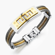 Queen Sports Strap Unisex Fashion Men's Titanium Steel Jewelry Bracelet Korean Gift (Golden + Silver)