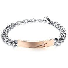 Queen Women's Cross Carved Black Titanium Steel Rose Gold Plated Bracelet Valentine's Day Gift (Rose Gold) - INTL