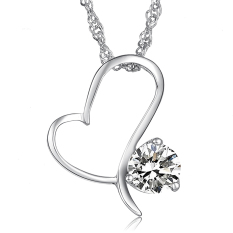 Queen Women's Fashion Diamond Swiss Imports Heart Necklace (White) - INTL