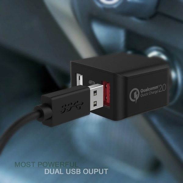Quick Charge 2.0 Dual USB Ports + Single USB Type-C Port Car Charger (Black) (Intl)