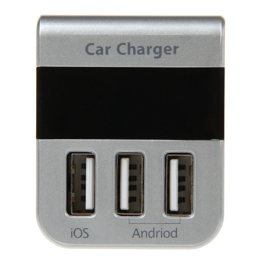 Quick Charge 3.1A / 10W High Power 3-port Smart USB Car Charger with Blue LED Display - Silver (Intl)