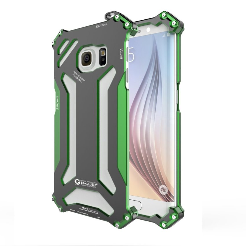 R-JUST Trendy Cool Alloy Shockproof Bumper Case Cover For Samsung Galaxy S6 Green