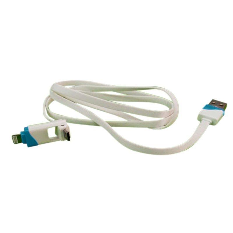 Ranselku Cable data/Charger iPhone Samsung 2 in 1 seri B - Biru