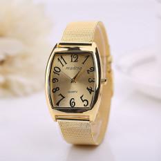 Rectangular Head Women Lady Classic Quartz Stainless Steel Wrist Watch Gold