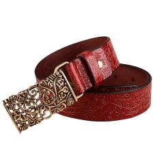 Red Good Quality 1PC Fashion Women Leather Belts Vintage Belt All-Match Belt For Women Metal Buckle Vintage Carved Belts (Intl)