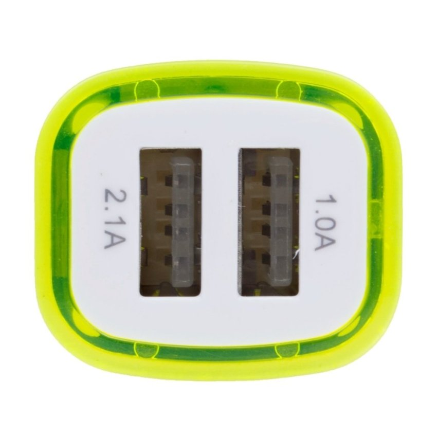 REGU New Portable Square LED Dual USB Car Charger (Yellow) (Intl)