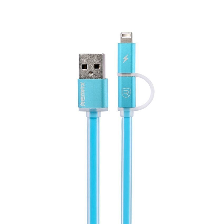Remax Aurora Cable 2 in 1 Apple Lightning dan Micro USB Kabel Data - Biru