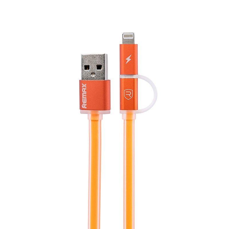 Remax Aurora Cable 2 in 1 Apple Lightning dan Micro USB Kabel Data - Orange