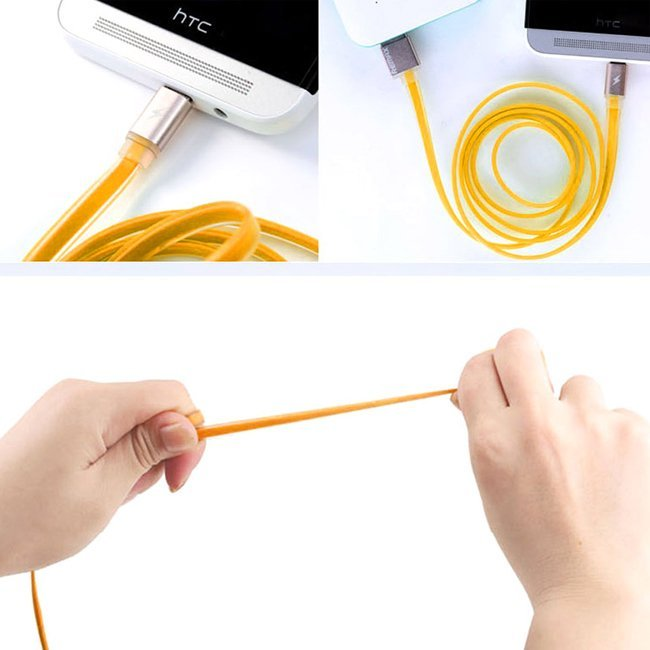 Remax Colorful USB Micro Charger High Speed Data Sync Cable - Oranye
