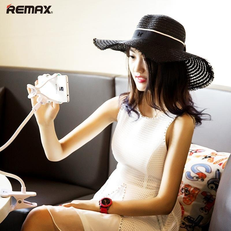 Remax RM-C22 Flexible Long Arm Lazy Bed Phone Clamp Holder Mount Stand - Putih