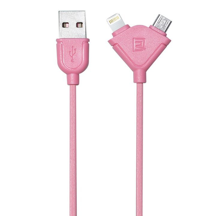 Remax Souffle 2 in 1 Cable Micro USB + Iphone 1M - Pink