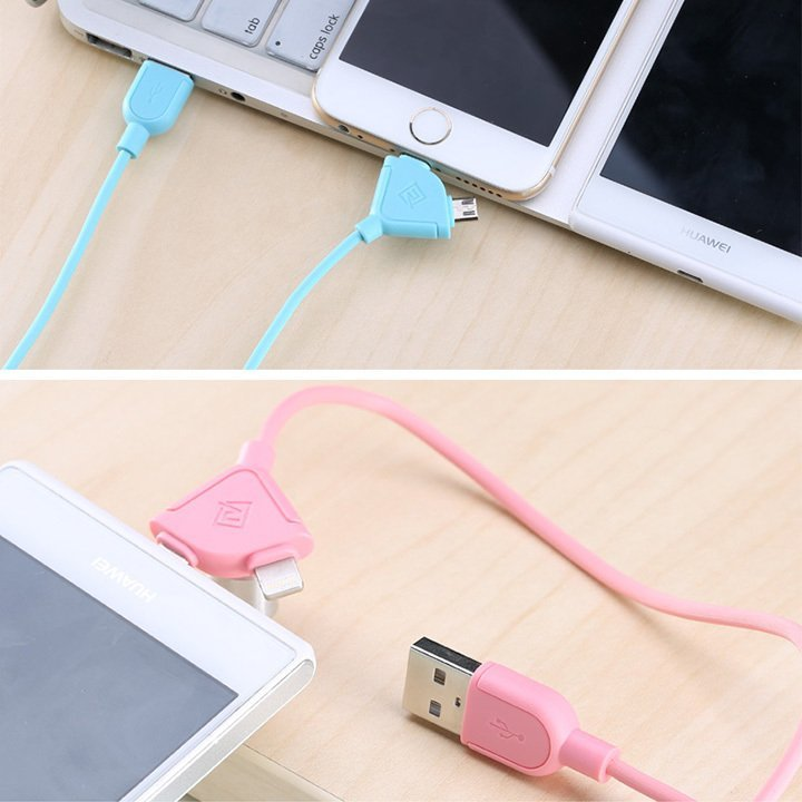 Remax Souffle 2in1 Lightning and Micro USB Kabel Data - Hijau