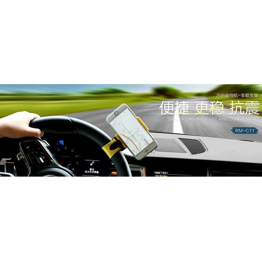 Remax Steering Wheel Smartphone Holder - RM-C11 - Hitam-Kuning