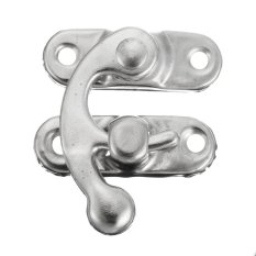Retro Swing Hook Clasp For Leather Craft Bag Wood Crafting Case Box With Screws Silver Left