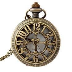 Retro Vintage Big Numbers Hollow Pattern Flip Up Quartz Pocket Watch With Chain - INTL