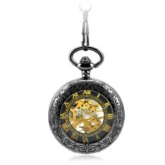 Retro Vintage Carved Pattern Hollow Flip Up Mechanical Hand Wind Clear Lid Pocket Watch With Chain - INTL