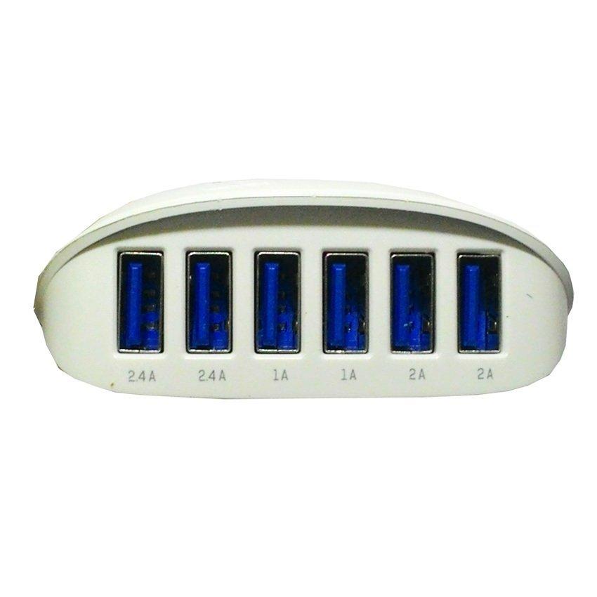 Rexus Charger 6 Port Total Output 5.4A Cepat dalam pengisian - Putih
