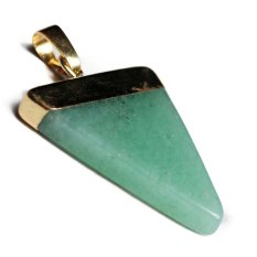 RIS Green Aventurine Stone Triangle Pendant Charms Fit Necklace Gold Plated (Intl)