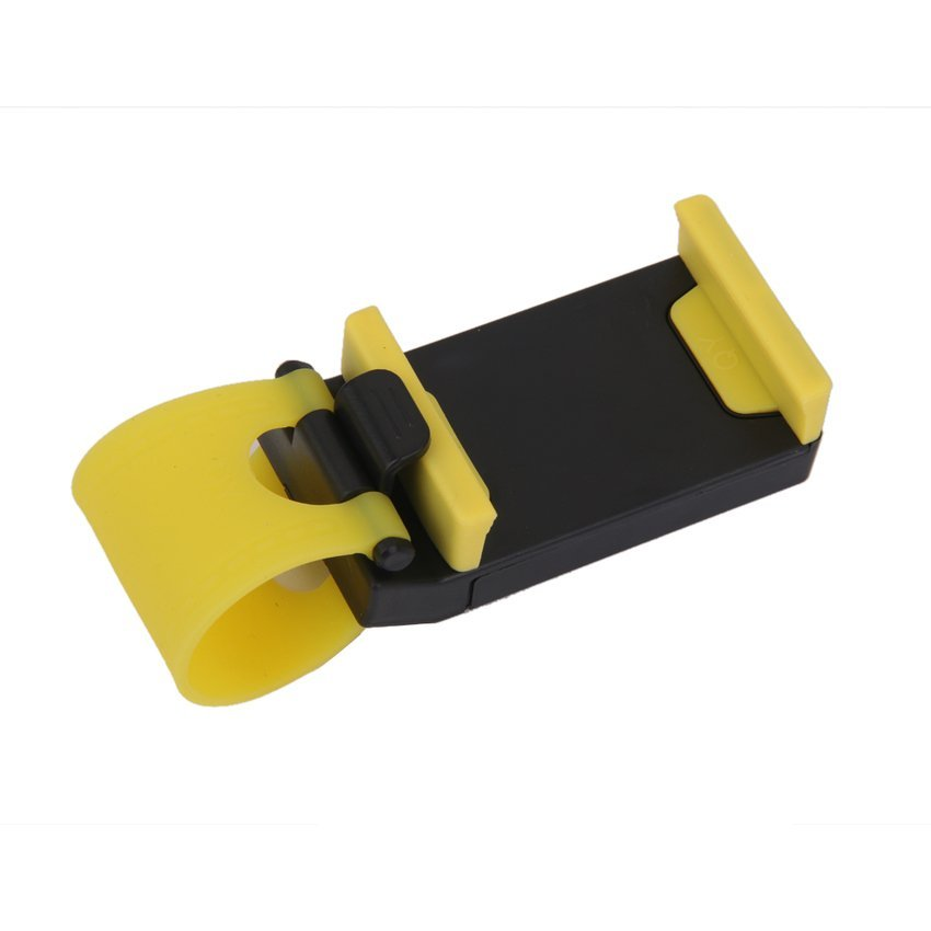 RIS Universal Car Steering Wheel Bike Clip Mount Holder for Cellphone (Black/ Yellow) (Intl)