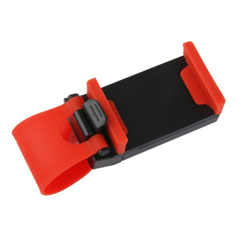 RIS Universal Mount Clip Buckle Socket Holder on Car Steering Wheel for Cellphone (Black/ Red) (Intl)