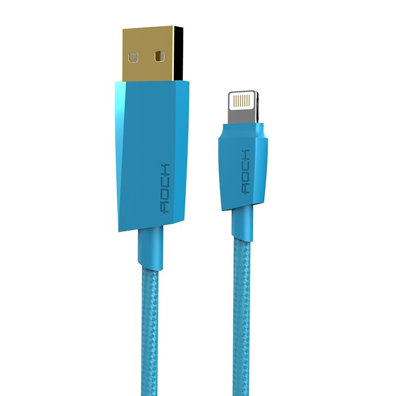 Rock 120cm MFI lightning usb charging cable woven sync data line for iPhone 6 /6s plus / iPad device(Blue) (Intl)