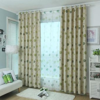 Ropalia Flower Thick Curtains For Living Room Green Intl