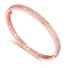 Rose Gold Plated AAA CZ Stone Rain Alley In Paris Chain Bracelets Gift For Woman (Rose Gold)