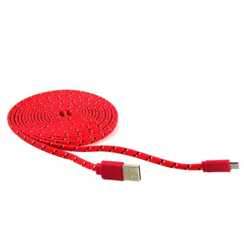 Rotamart Kabel Charging Micro USB Tali Sepatu 3 Meter - Merah-Hitam-Putih