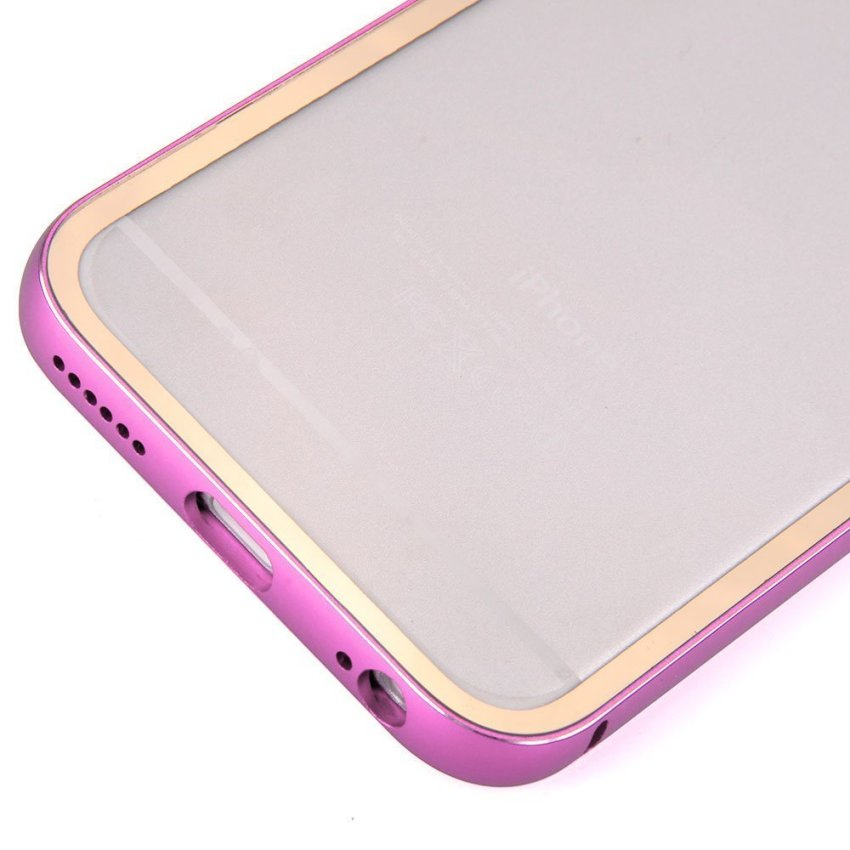 Roybens Aluminum Metal Bumper Clear Back Case for Apple iPhone 6 Plus 5.5 (Pink) (Intl)