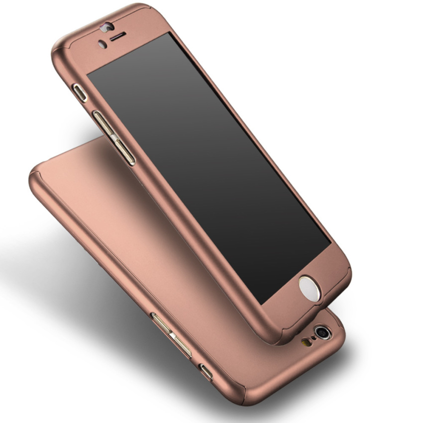 Roybens Full Body Protect Hard Slim Case Cover with Tempered Glass for iPhone 6 4.7 (Rose Gold) (Intl)