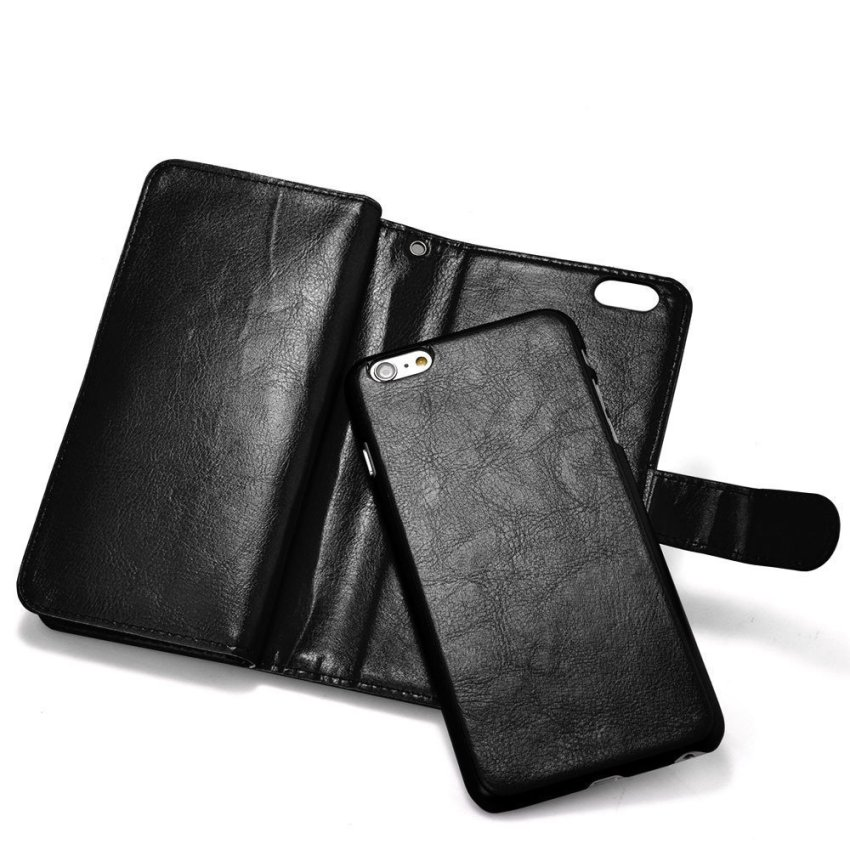 Roybens Leather 9 Card slot Wallet Magnetic Detachable Flip Stand Cover for iPhone 6 Plus Black (Intl)