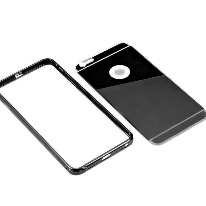 "Roybens Luxury Air Aluminum Ultra Thin 2 in 1 Detachable Mirror Metal Frame Bumper Hard Back Case cover for Apple iPhone 6 Plus 5.5"" Black (Intl)"