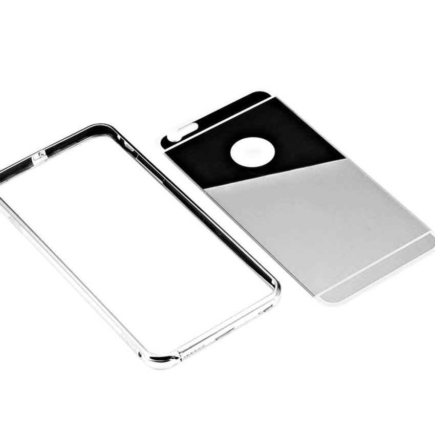 "Roybens Luxury Air Aluminum Ultra Thin 2 in 1 Detachable Mirror Metal Frame Bumper Hard Back Case cover for Apple iPhone 6 Plus 5.5"" Silver (Intl)"