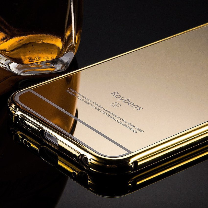 Roybens Luxury Air Aluminum Ultra Thin 2 in 1 Detachable Mirror Metal Frame Bumper Hard Back Case cover for Apple iPhone 6s Plus Gold (Intl)