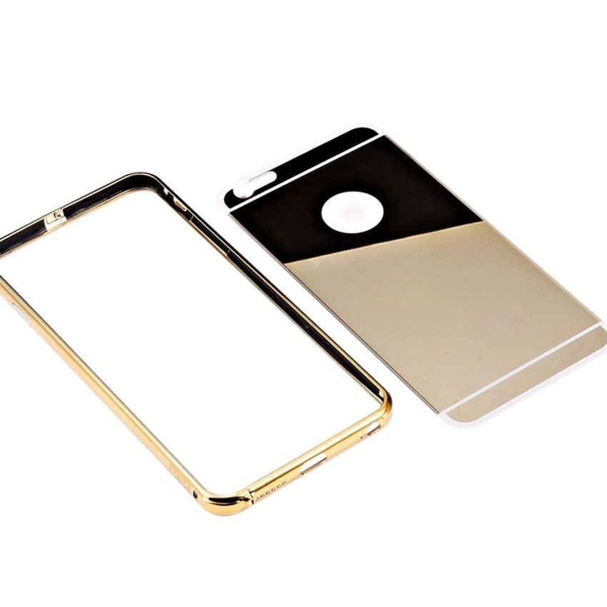 Roybens Luxury Aluminum Ultra-thin Bumper Mirror Metal Case Cover for iPhone 5 5s Gold (Intl)