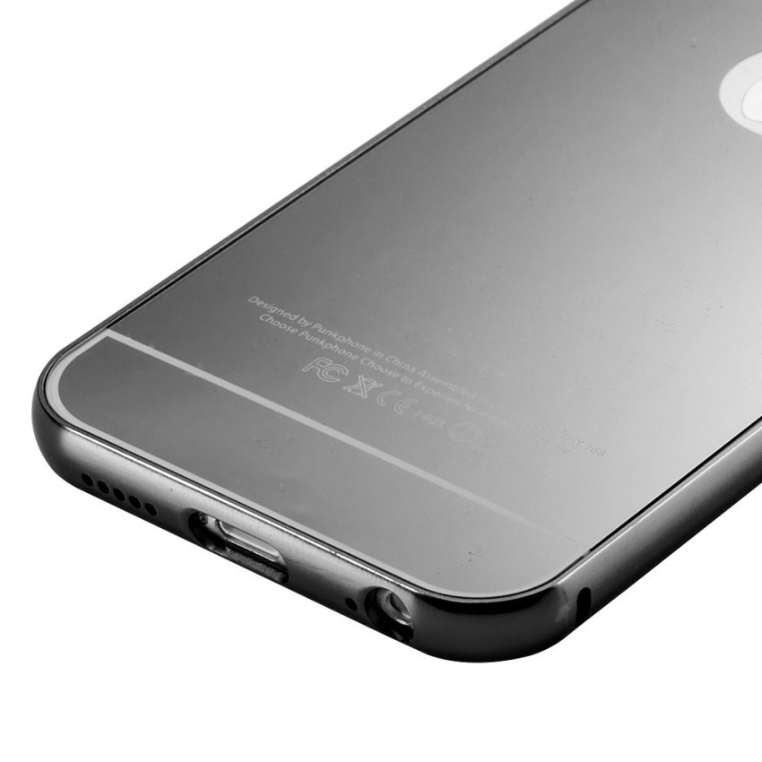 Roybens Luxury Aluminum Ultra-thin Mirror Metal Case for iPhone 6 (Black) (Intl)