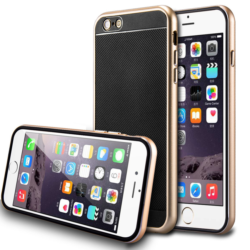 Rubber Hybrid Shockproof Metal Bumper Slim Skin Case for iPhone 6/6S Gold (Intl)
