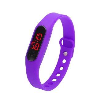 Rubber LED Womens Mens Date Sports Bracelet Digital Wrist Watch Purple