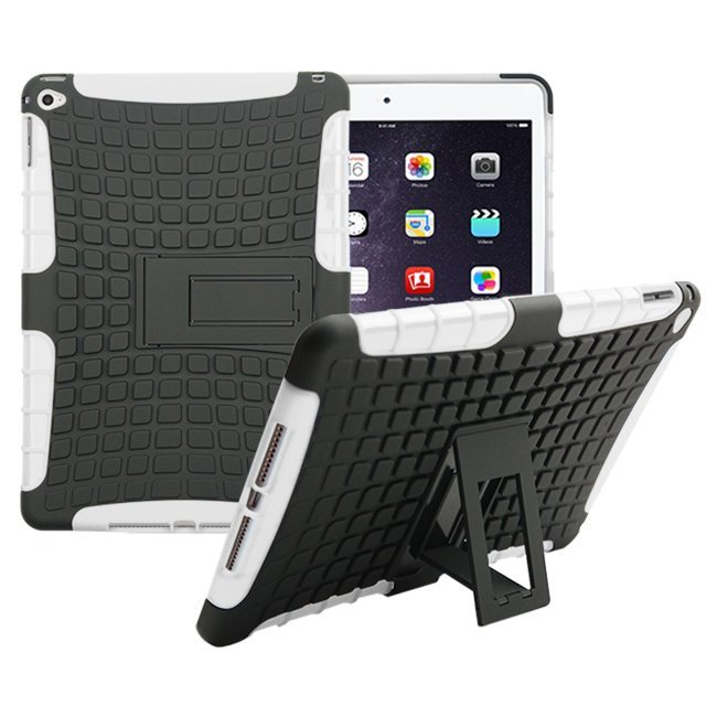 RUILEAN Case Cover For iPad Air 2 Tough Rugged Dual-Layer Case with Built-in Kickstand White