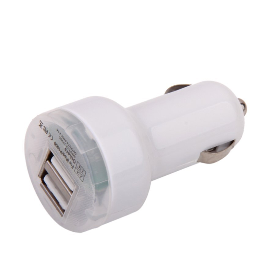 S & F Dual USB Port Car Charger Adapter for iPad/iPhone/iPod (White)
