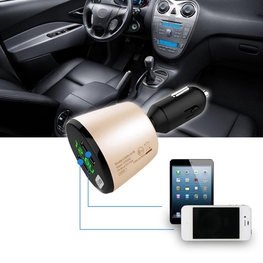 S & F 25W 5A 2-Port Dual USB Car Charger Cigarette LED Voltage gold (Intl)