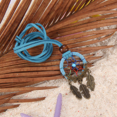S & F Dreamcatcher Feather Charm Pendant Hand Tied Necklace Blue