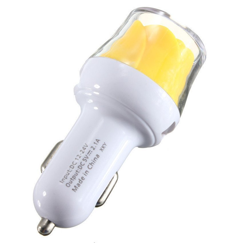 S & F Light Rose 2A LED Dual USB 2 Port Car Charger Adapter for IPhone Samsung HTC (Yellow) (Intl)
