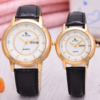 Costie Jam Tangan Uni Gold Black Gold Stainless Stell Band Sc Rx 001d .