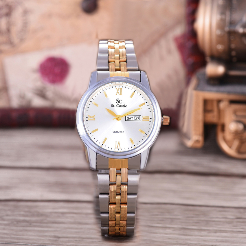 Saint Costie Original Brand, Jam Tangan Wanita - Body Silver/Gold - White Dial