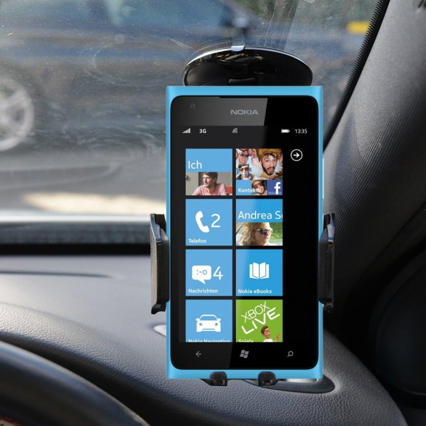 Samrick Specially Made To Measure 360 Degree Rotation Car Windscreen/Dashboard Mount/Holder With One-Step Mounting Technology for Nokia Lumia 900 (Black) (Intl)